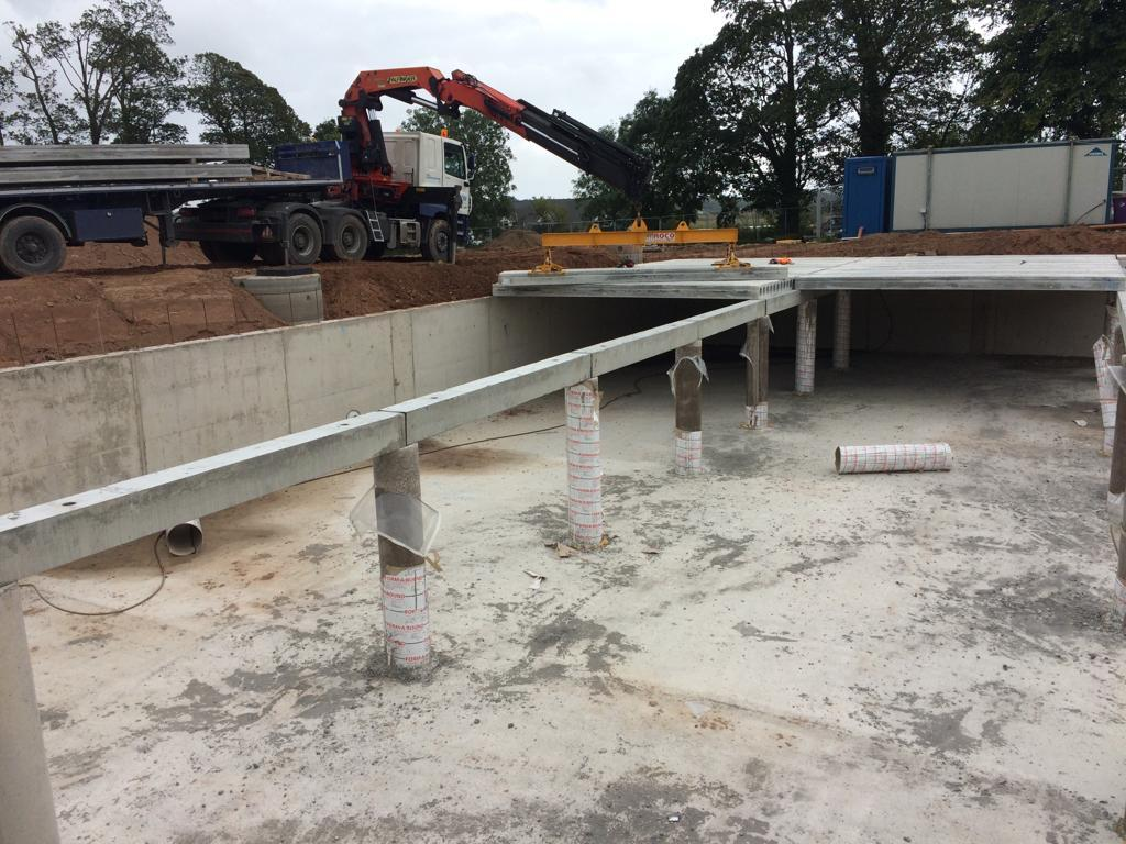 Fitting 250mm Prestressed Hollowcore Slabs Beams On A New Attenuation Tank In Cork