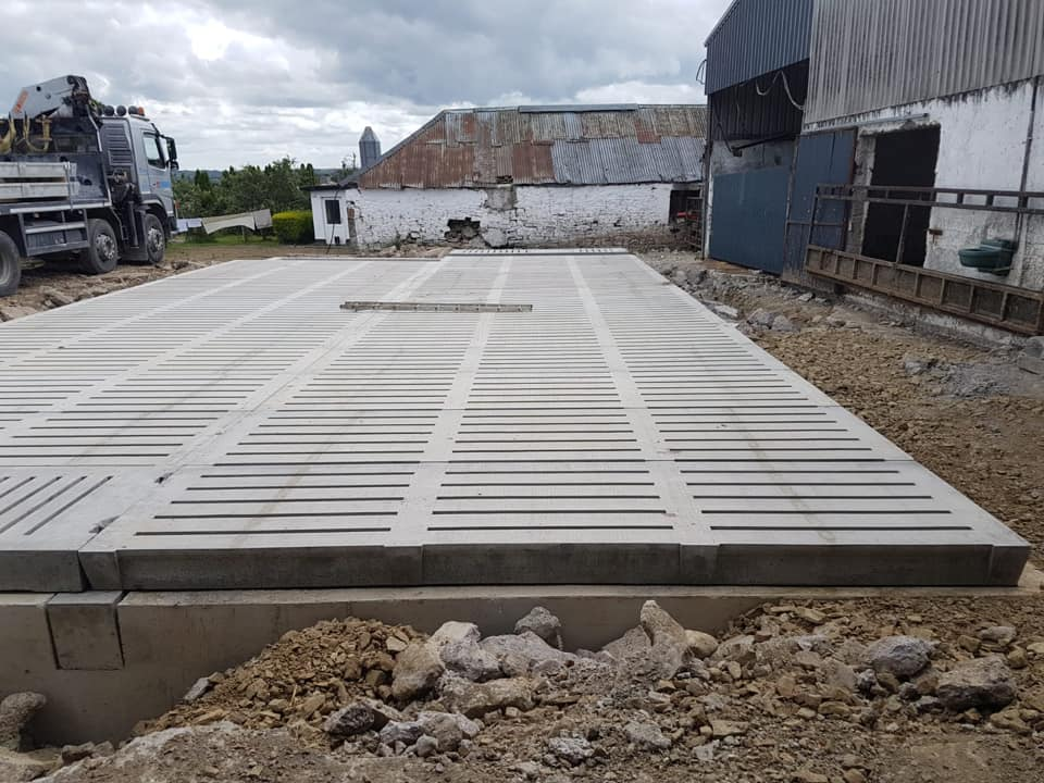 Cattle Slat Double Tanks Installed in by Croom Concrete